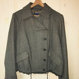 GAP Sz 12/14 Olive Green Moto Jacket Wool Coat